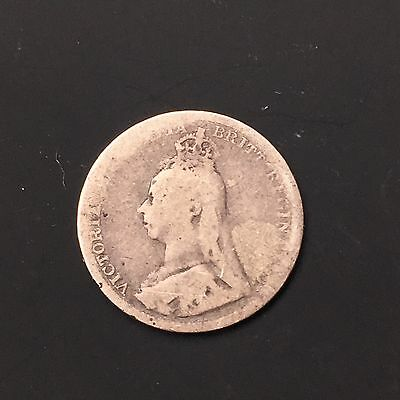 1893, Great Britain, Queen Victoria. Silver Coin FREE SHIPPING