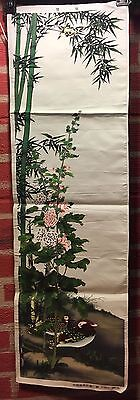 Chinese Silk Tapestry Wall Hanging - Ducks and Bamboo  VGC