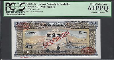 Cambodia 50 Riels ND(1972) P7ds Specimen TDLR Uncirculated