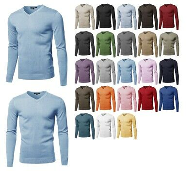 FashionOutfit Men's Casual Solid Soft Knitted Long Sleeve V-neck Sweater