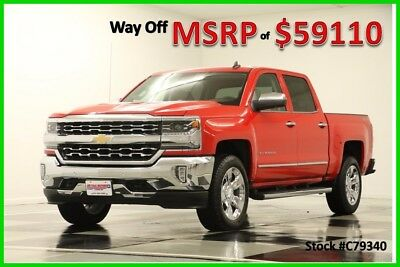 2017 Chevrolet Silverado 1500 MSRP$59110 4X4 LTZ 6.2L V8 GPS Leather Red Crew New Cocoa Dune Tan Leather Navigation 20 In Chrome Short Bed 4WD Cab Camera