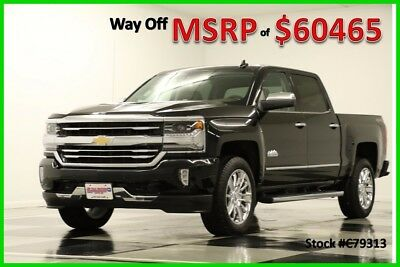 2017 Chevrolet Silverado 1500 MSRP$60465 4X4 High Country Sunroof Black Crew 6.2 New Navigation Heated Cooled Saddle Leather 6.2L V8 Cab GPS Short Bed 4WD