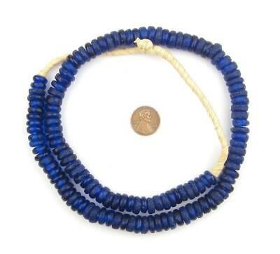 African Cobalt Blue Rondelle Recycled Glass Beads Ghana