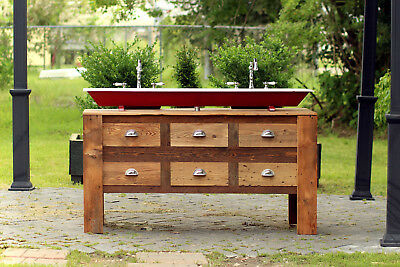5' Reclaimed Wood Bath Vanity Cabinet Steel Trough Sink Apothecary Chest Package