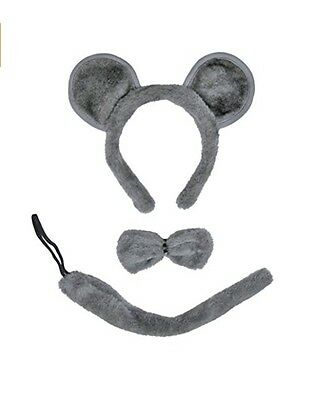 SeasonsTrading Gray mouse Ears, Tail and Bow Tie Costume Set - Halloween Kit