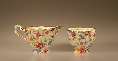 Royal Winton Old Cottage Chintz Ascot Creamer and Open Sugar Set, England
