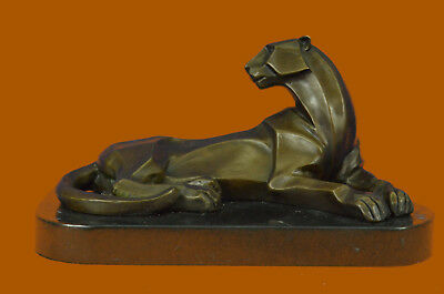 Bronze Collectible Figurine Decor Henry Moore Modern Art Abstract African Lion S