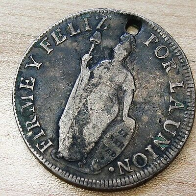 1833 Peru 8 Reales Silver Holed