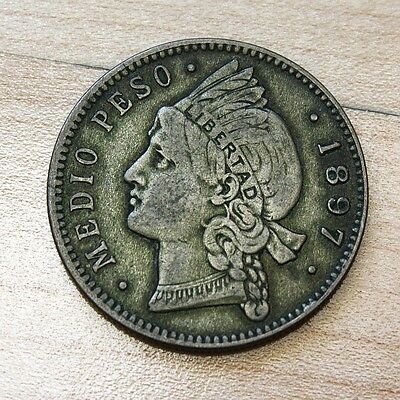 1897 Dominican Republic 1/2 Peso Silver