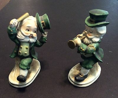 Pair Of Lefton Ceramic Musical Irish Leprechauns