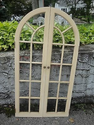 Architectual salvage Window Doors Curved Wood Glass Shabby Vintage Mid Century