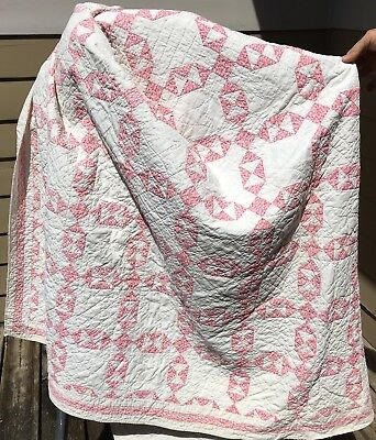 Beautiful! Antique Large Red & White Quilt