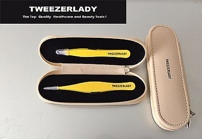 New-  Tweezerlady Pointed / Slanted Tweezers ( Pastal Neon Yellow Set)
