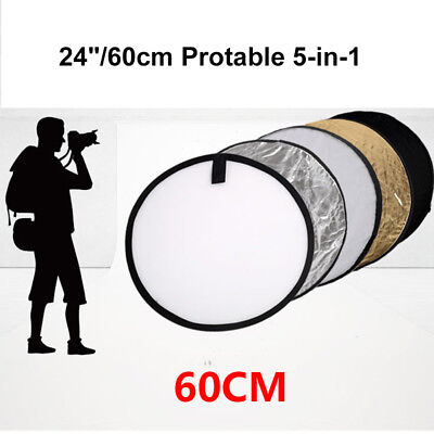 "24""/ 60cm 5 in 1 Multi-Disc Light Multi Collapsible Photo Reflector Board Disc"