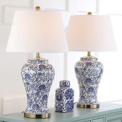 Home Lighting Table Lamp Set Of Two White Blue Blossom With A Linen