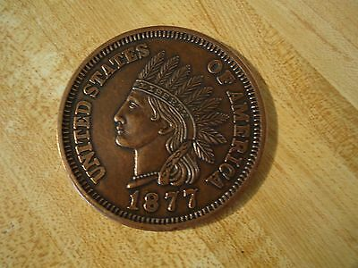 """Large 3"""" Cast Metal 1877 Indian Head Penny Novelty Coin"""