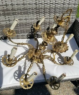 Antique Large Solid Brass French Country 8 Arm Chandelier Restoration Vintage