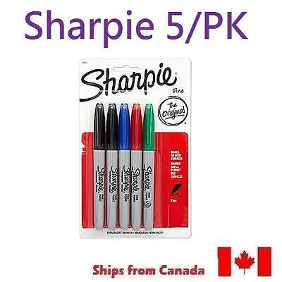 NEW Sharpie Fine Point Permanent Markers, Assorted, 5/pk 30653