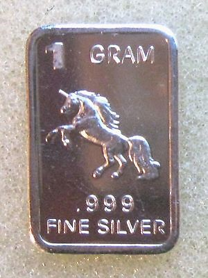 1 Gram .999 Fine Pure Solid Silver ~  Mini Art/bar ~  Unicorn ~