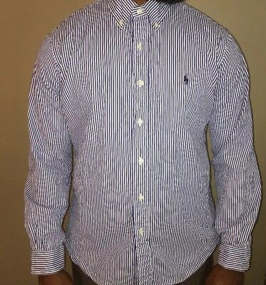 Men's Ralph Lauren Custom Fit Blue Striped Button Front Shirt Size Large