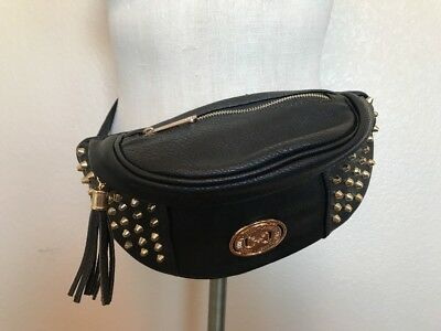 Fanny Pack Gold Studded Coco + Carmen Black