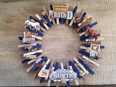Western hand painted clothes pin wreaths