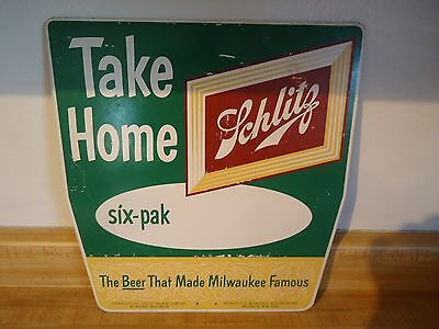Vintage 1960's Schlitz Take Home a Six Pack Double Sided Masonite Sign