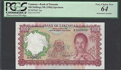 Tanzania 100 Shilling ND(1966) P5as Specimen Perforated Uncirculated