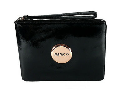 Mimco black medium patent leather pouch with rose gold hardware
