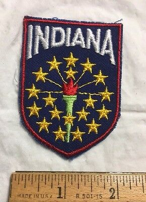 Indiana State Flag Stars Torch IN Souvenir Shield Patch