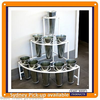FLOWER PLANT DISPLAY RACK NBR9 with 9 Tin Buckets Portable Flower Display