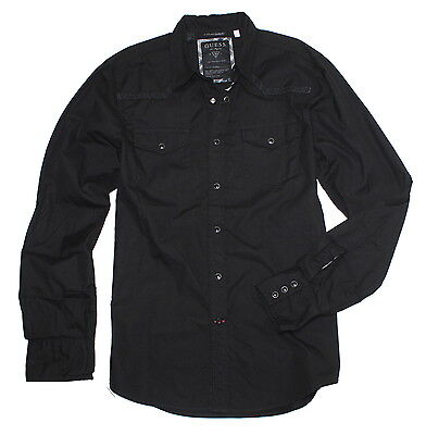 NWT Guess Men's Designer Snap Button Down Shirt, Jet Black, Medium