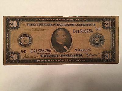 1914 Large Size 20 Dollar Bill Blue Seal Note