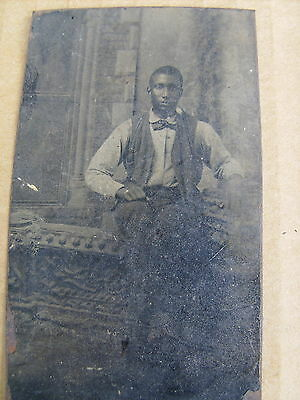 Black Americana Antique Tintype Photograph Well Dress Young Man