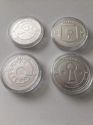 DEF CON 25 1 troy oz. Sterling Silver Pirate Dialer Disk & Keyhole 4 coin set