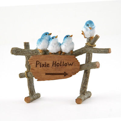 "Miniature Dollhouse FAIRY GARDEN - ""Pixie Hollow"" Sign with Birds - Accessories"