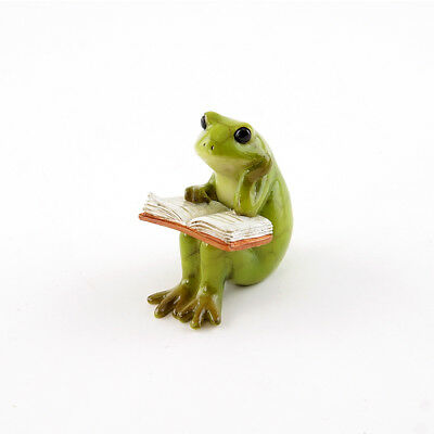 Miniature Dollhouse FAIRY GARDEN - Little Reading Frog - Accessories