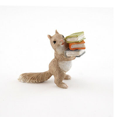 Miniature Dollhouse FAIRY GARDEN - Little Squirrel Carrying Books - Accessories