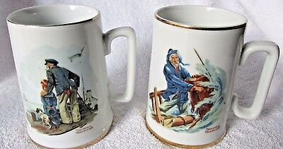 """Pair Norman Rockwell Mugs Tankards """"looking Out Sea"""" """" Braving The Storm"""""""