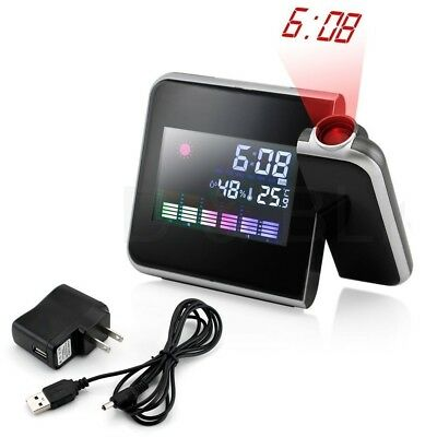 Digital LCD w/ LED Projector Alarm Clock Projecting Weather Station Temperature