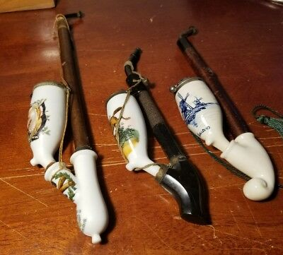 Beautiful Lot of (3) Vintage Porcelain Smoking Pipes