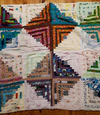 Vintage Diamond Pattern Patchwork Hand Pieced  Bed Coverlet Quilt Cover Throw