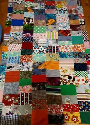 Vintage Antique Patchwork Quilt Doublesided Cover Throw