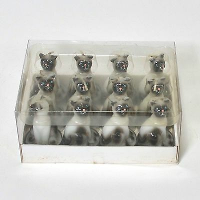 Siamese Cat Novelty Tea Lights Candles - Set of 12 in Box