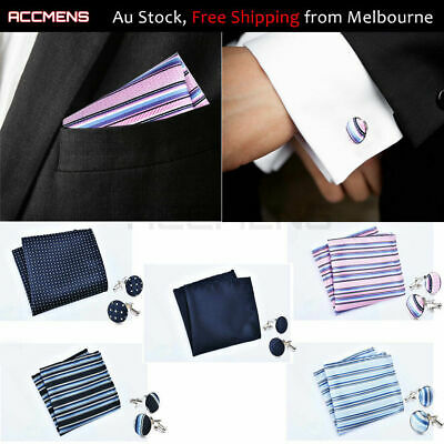 Mens Cufflinks Hanky Set Fabric Cloth Wedding Novelty Vintage Fathers Day Gift