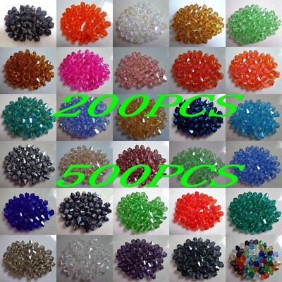 Wholesale 200/500pcs bicone crystal acrylic 5301 # 4mm/6mm loose spacer Beads