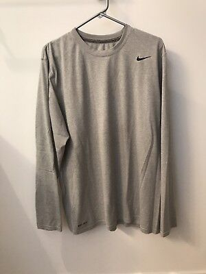 Men's Nike Dri Fit Long Sleeve Shirt, Gray, Size XL