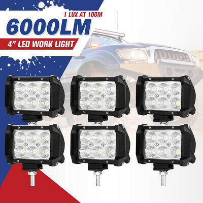 6PCS 4inch CREE LED Work Driving Light Bar FLOOD Beam Offroad 4WD Reverse