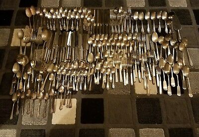 Huge 200 pc Lot of Mixed Vintage Antique Silverplate Flatware for Craft Service