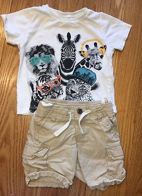 Zara Baby Animal Tiger Short Sleeve Shirt & GAP Shorts Set Size 12-18 Months Boy